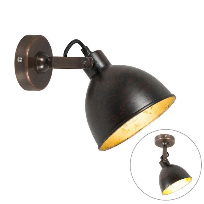 Landelijke-wandlamp-koper-met-gouden-binnenkant---Liko
