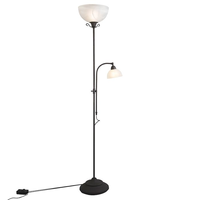 Klassieke-vloerlamp-bruin-met-leeslamp-en-dimmer---Dallas