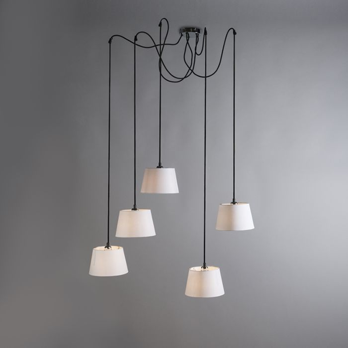 Hanglamp-Cava-5-chroom-met-witte-kappen