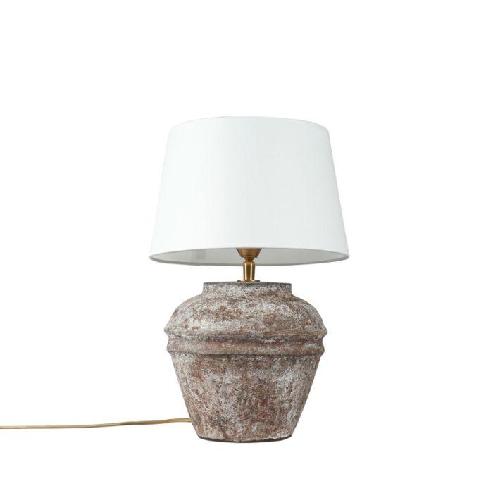 Landelijke-tafellamp-bruin-met-witte-kap---Arta-XS-vintage