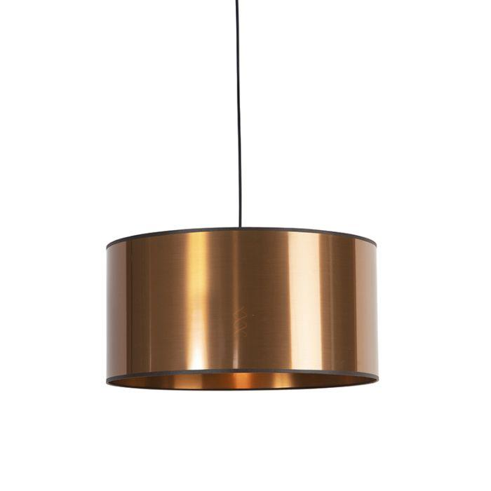 Design-hanglamp-zwart-met-koperen-kap-50-cm---Pendel