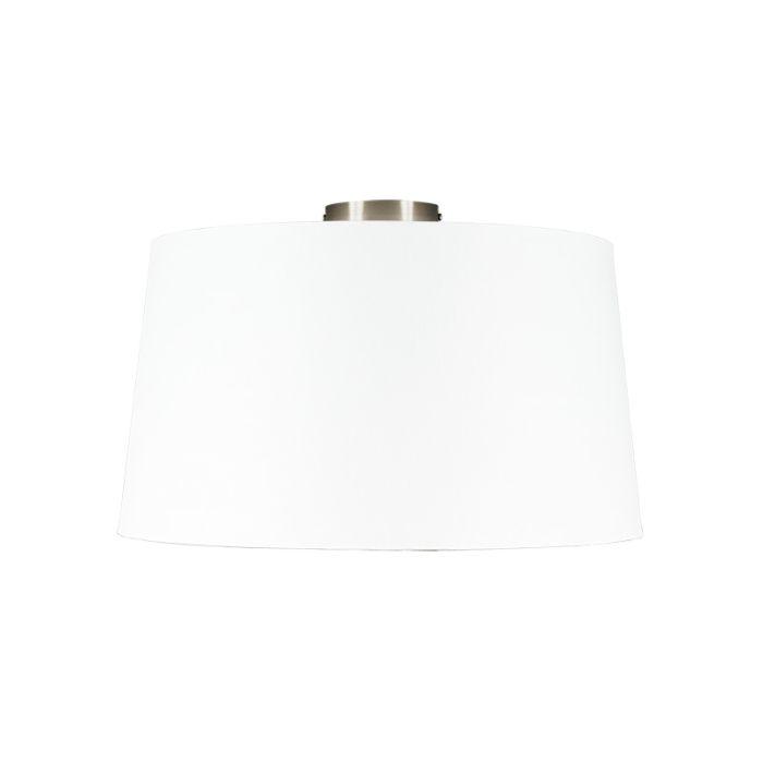 Moderne-plafondlamp-staal-met-witte-kap-45-cm---Combi