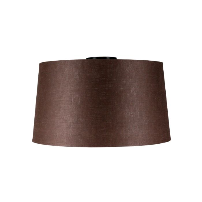 Plafondlamp-mat-zwart-met-bruine-kap-45-cm---Combi