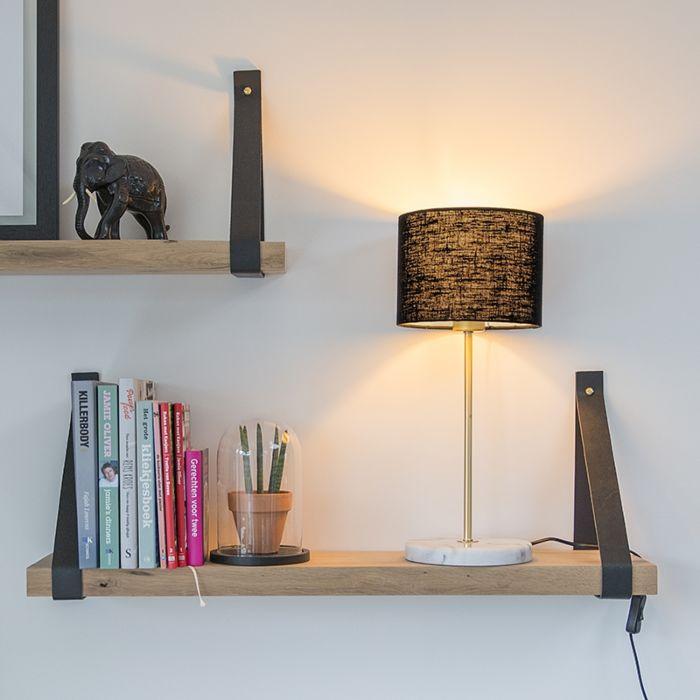 Tafellamp-Kaso-messing-met-kap-20cm-zwart
