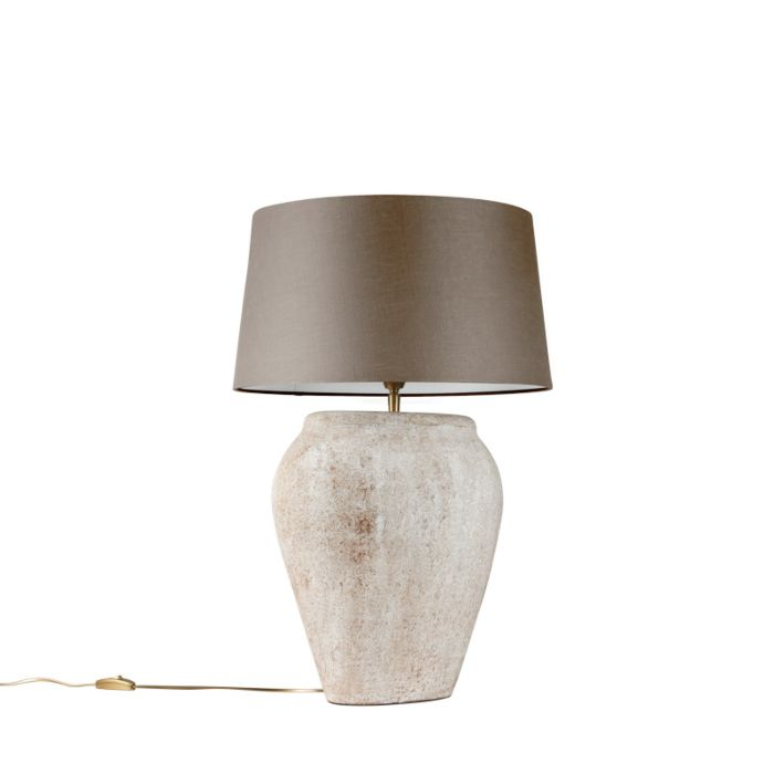 Tafellamp-Blava-ovaal-scotch-met-kap-45cm-taupe