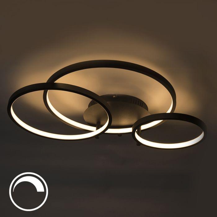 Moderne-plafondlamp-zwart-incl.-LED-en-ingebouwde-dimmer--Rondas