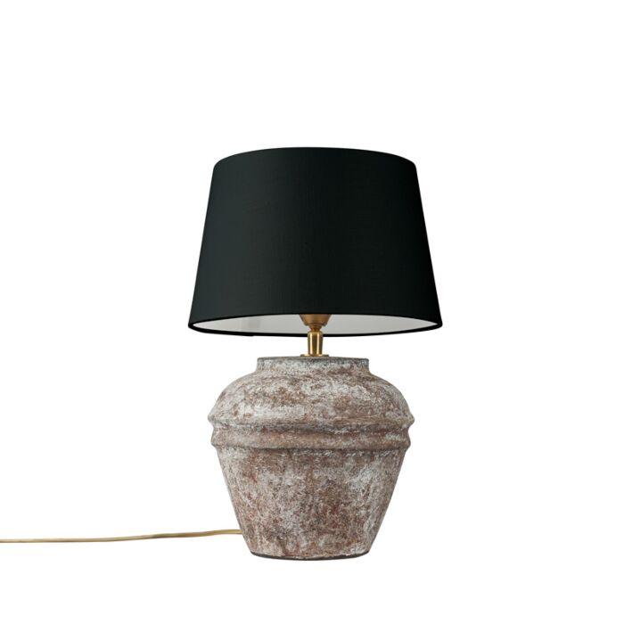 Landelijke-tafellamp-bruin-met-zwarte-kap---Arta-XS-vintage