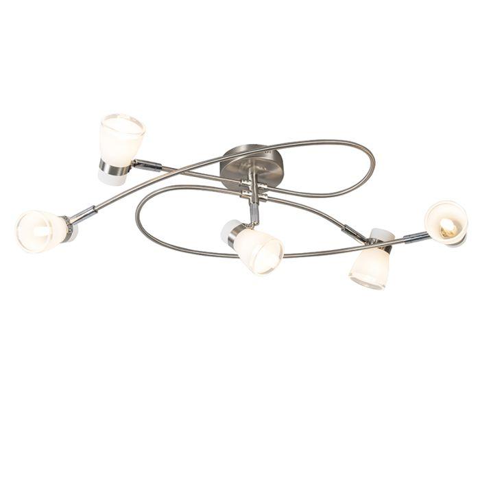 Moderne-plafondlamp-staal-5-lichts---Nadia