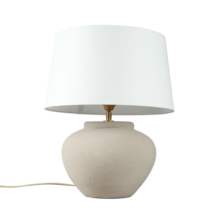 Tafellamp-Palma-XS-grijs-met-kap-35cm-wit