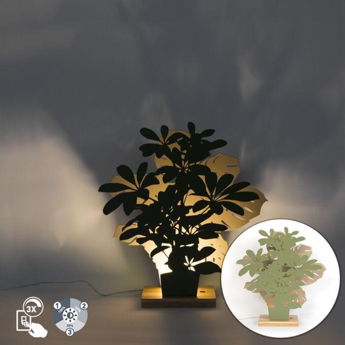 Landelijke-tafellamp-groen-met-beige-incl.-LED---Silhouettes