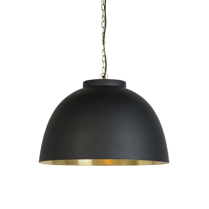 Hanglamp-zwart-met-messing-binnenkant-60-cm---Hoodi
