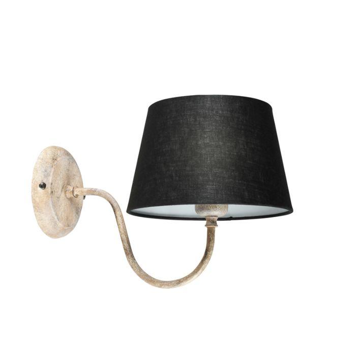 Wandlamp-Combi-Classic-taupe-met-kap-20cm-zwart