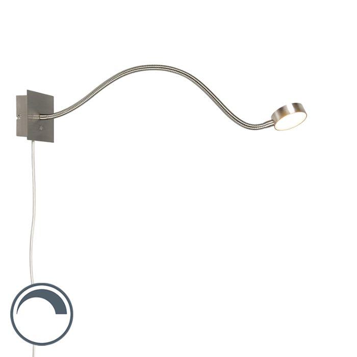 Design-wandlamp-staal-met-flexarm-incl.-LED-en-dimmer---Gata