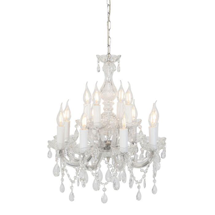 Vintage-kroonluchter-glaskristal-met-C-arm-12-lichts---Marie-Theresa