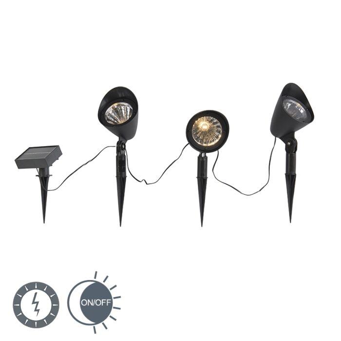Prikspot-zwart-incl.-LED-op-zonne-energie-set-van-3-IP44---Sunshine