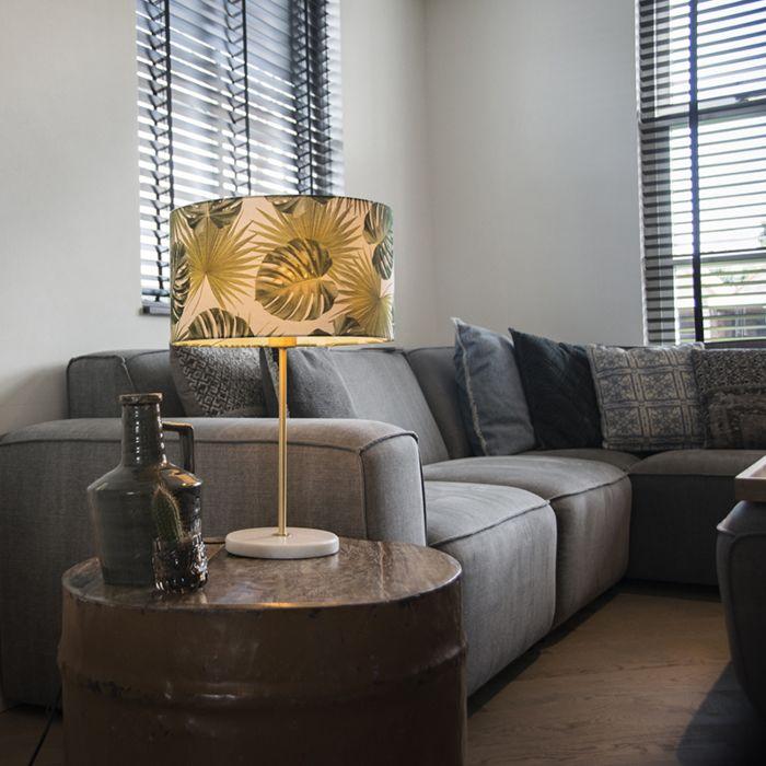 Moderne-tafellamp-messing-met-leaf-kap-35-cm---Kaso