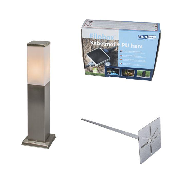 Buitenlamp-Malios-P45-staal-met-grondpin-en-kabelmof