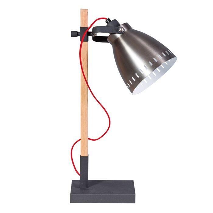 Landelijke-tafellamp-hout-met-zilveren-kap---Biscari