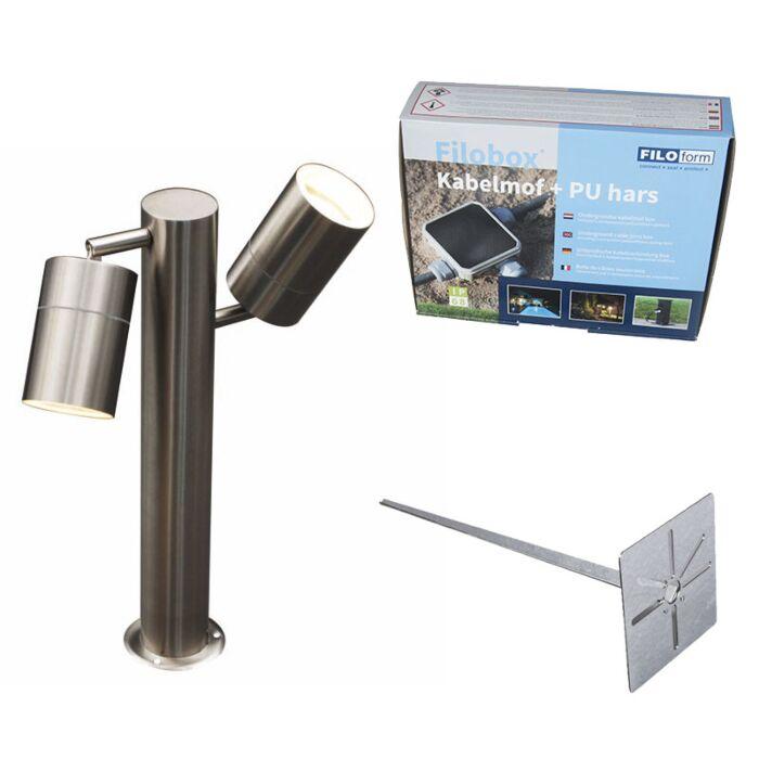 Buitenlamp-Solo-2-P35-staal-verstelbaar-met-grondpin-en-kabelmof