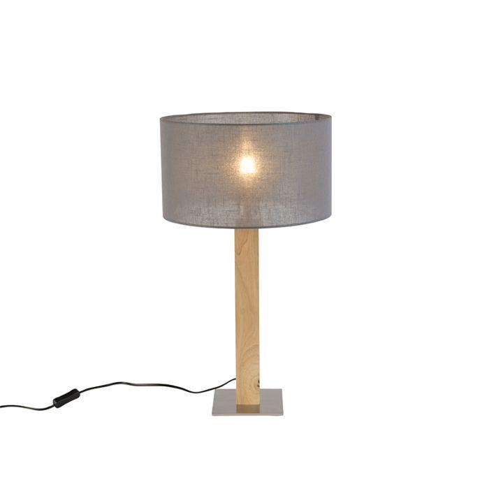 Landelijke-rechte-tafellamp-hout-met-donker-grijze-kap-35cm---Pillar