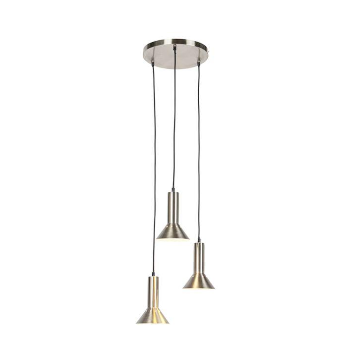 Moderne-hanglamp-staal-3-lichts---Speaker