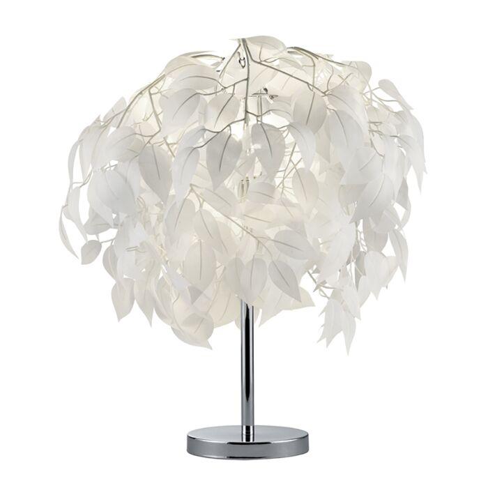 Moderne-tafellamp-chroom-met-wit---Feder