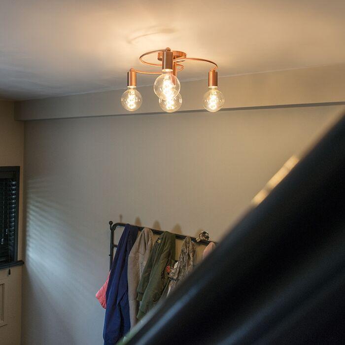Art-deco-plafondlamp-koper-4-lichts---Facil