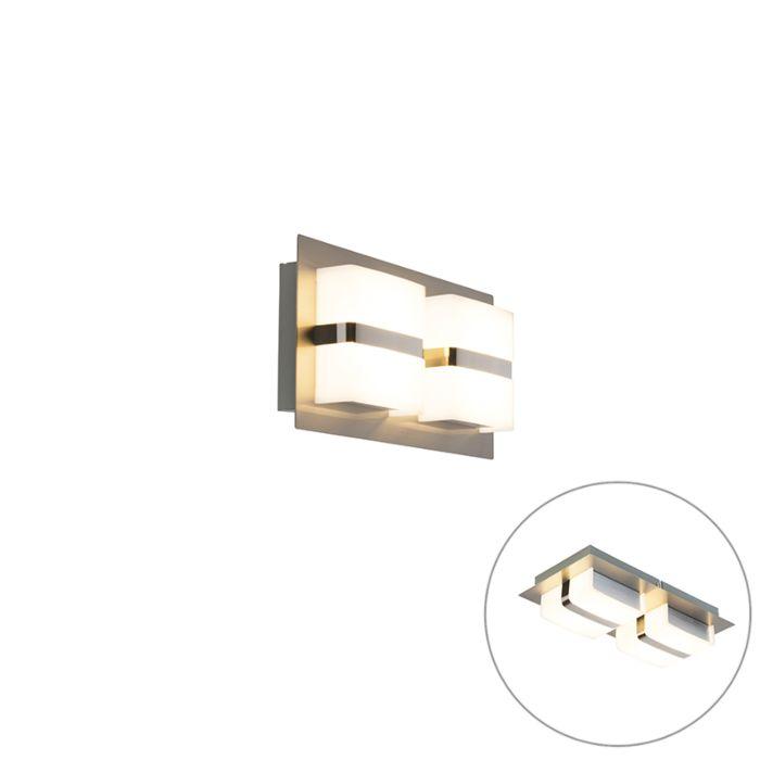 Moderne-rechthoekige-wandlamp-staal-incl.-LED-2-lichts---Lena
