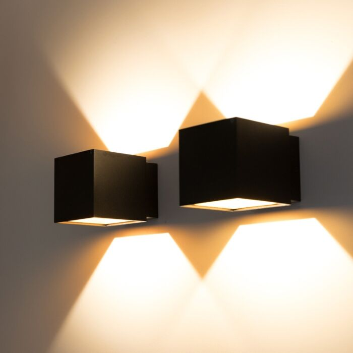 Set-van-2-wandlampen-Caja-zwart/goud