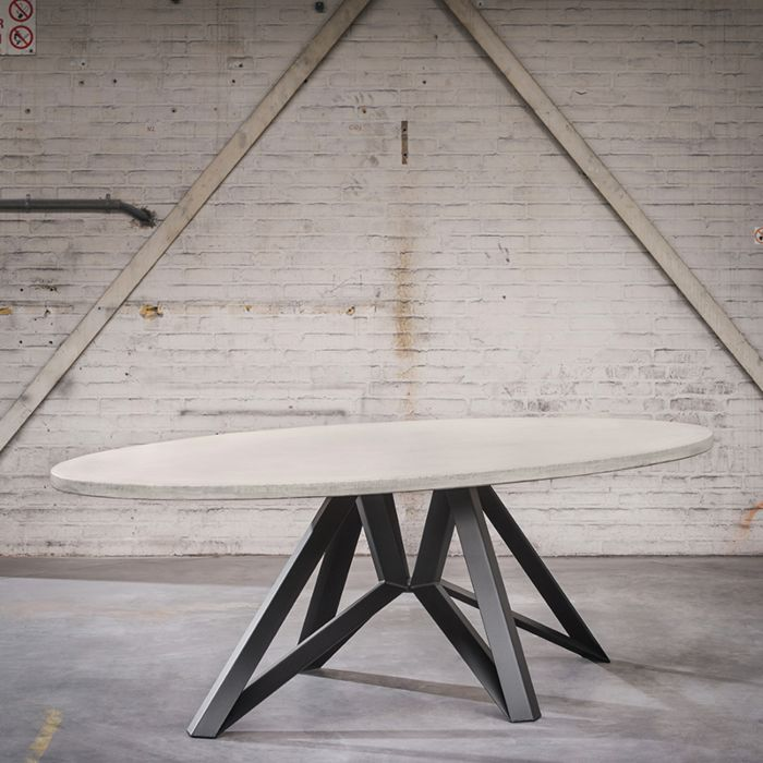 Industriele Vierkante Tafel.Industriele Ovale Eettafel 240x120x4 Betonlook Met Zwarte