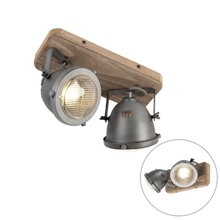 Industriële-spot-staal-met-hout-kantelbaar-2-lichts---Emado