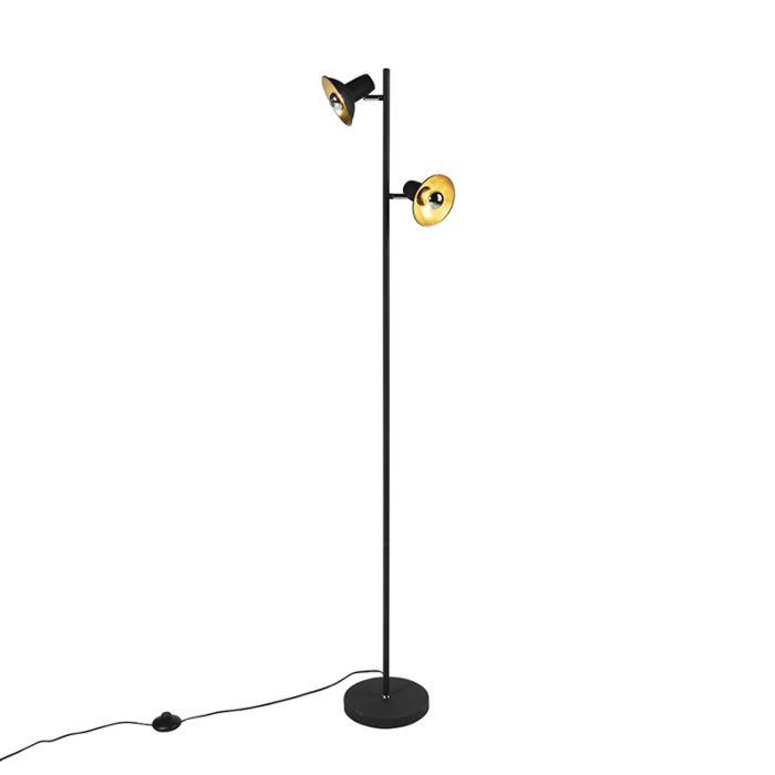 Industriele-vloerlamp-zwart-met-goud-met-2-lichtpunten---Avril