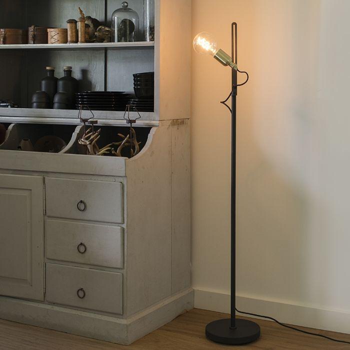 Moderne-strakke-vloerlamp-zwart-met-messing-accenten---Slide