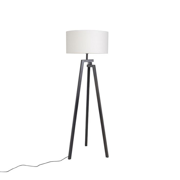 Design-vloerlamp-driepoot-zwart-hout-met-witte-kap---Cortina