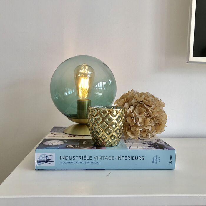 Art-deco-tafellamp-messing-met-groen-glas---Pallon