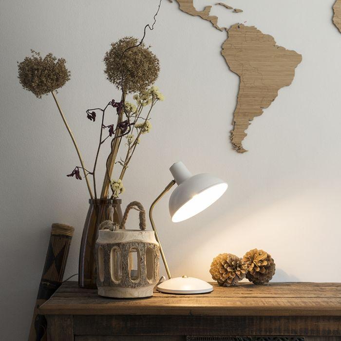 Retro-tafellamp-wit-met-brons---Milou