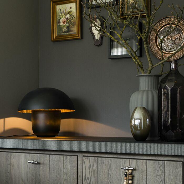 Moderne-ronde-tafellamp-40cm-zwart-met-gouden-binnenkant---Canta