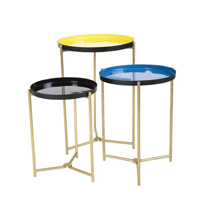 3 Vintage Bijzettafeltjes.Set Van 3 Bijzettafeltjes Geel Blauw En Zwart In 3 Maten Enamel