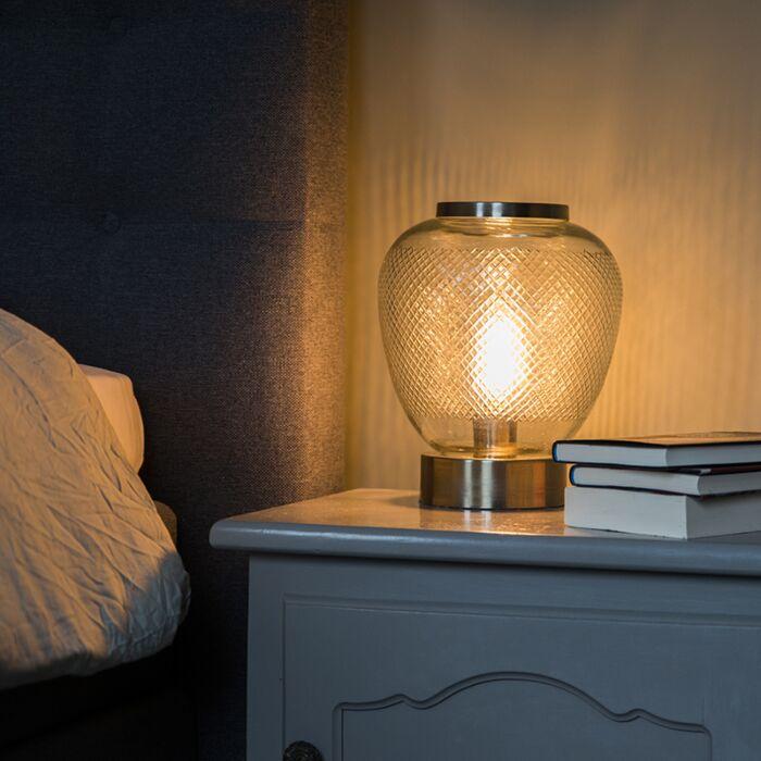Vintage-tafellamp-bolvormig-bewerkt-glas-met-staal--Bardo