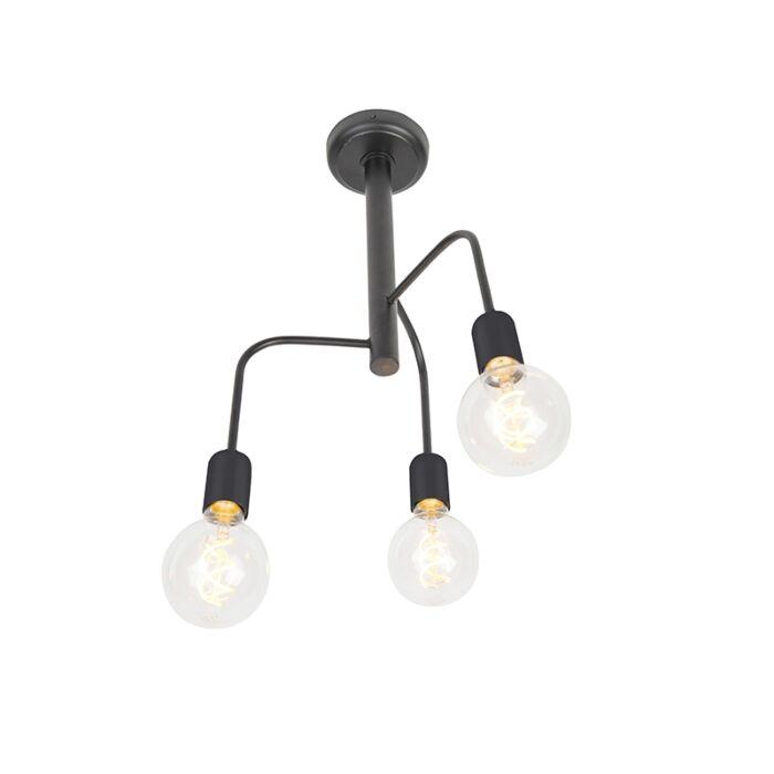 Moderne-plafondlamp-zwart-3-lichts---Facile