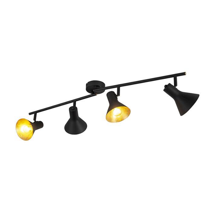Moderne-plafondspot-zwart-met-gouden-binnenkant-4-lichts---Magno