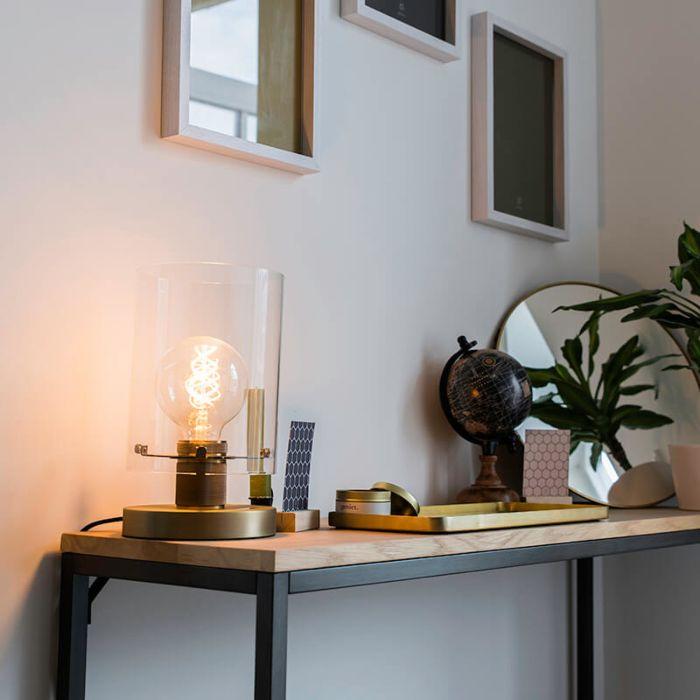 Moderne-tafellamp-brons-met-glas---Dome