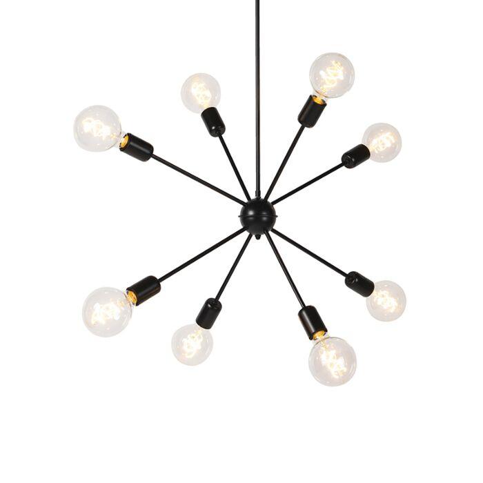 Moderne-hanglamp-zwart-8-lichts-met-schuifstang---Sputnik
