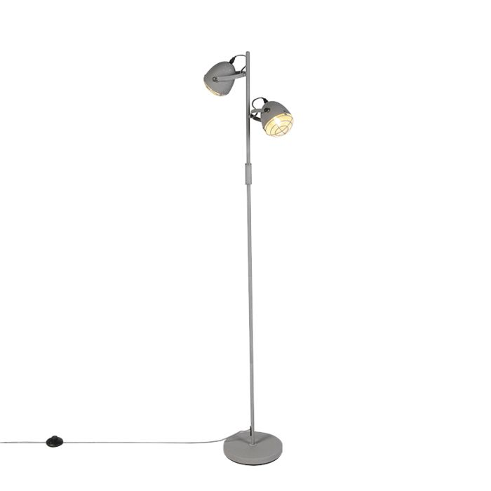 Industriele-verstelbare-vloerlamp-grijs-betonlook-2-lichts---Rebus