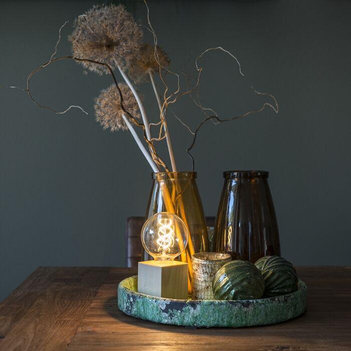 Moderne-vierkante-tafellamp-naturel-hout---Bloc