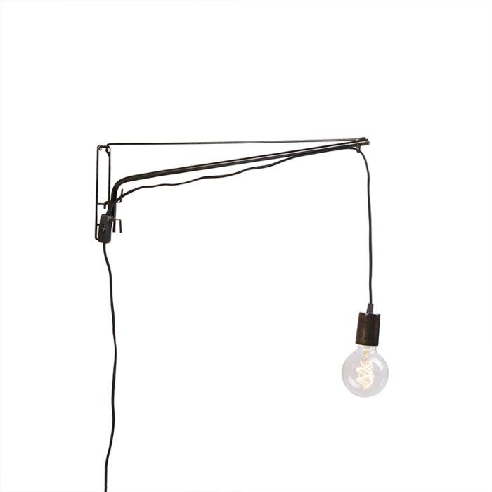 Vintage-verstelbare-wandlamp-60cm-staal-met-zwart-stoffen-snoer---Hook