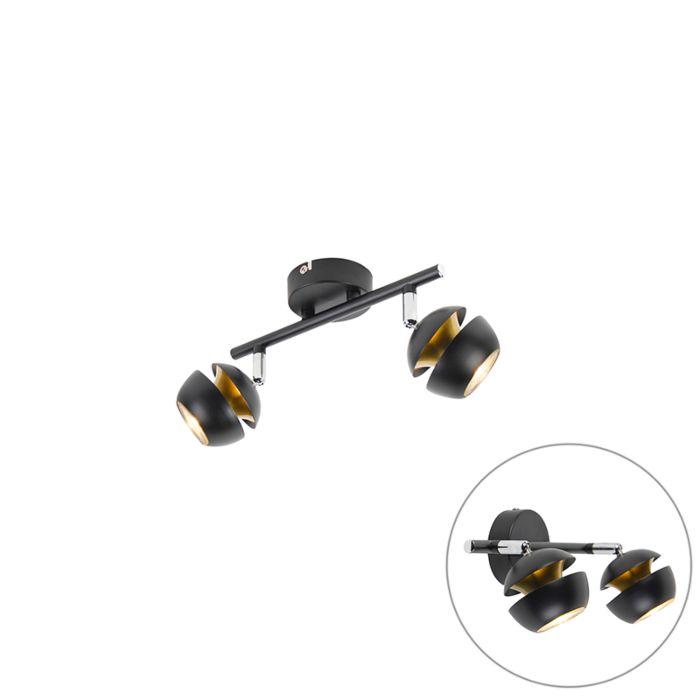 Moderne-spot-2-lichts-zwart-met-gouden-binnenkant---Buell-Deluxe