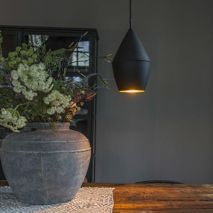 Moderne-hanglamp-zwart-met-gouden-binnenkant---Depeche-Jacob