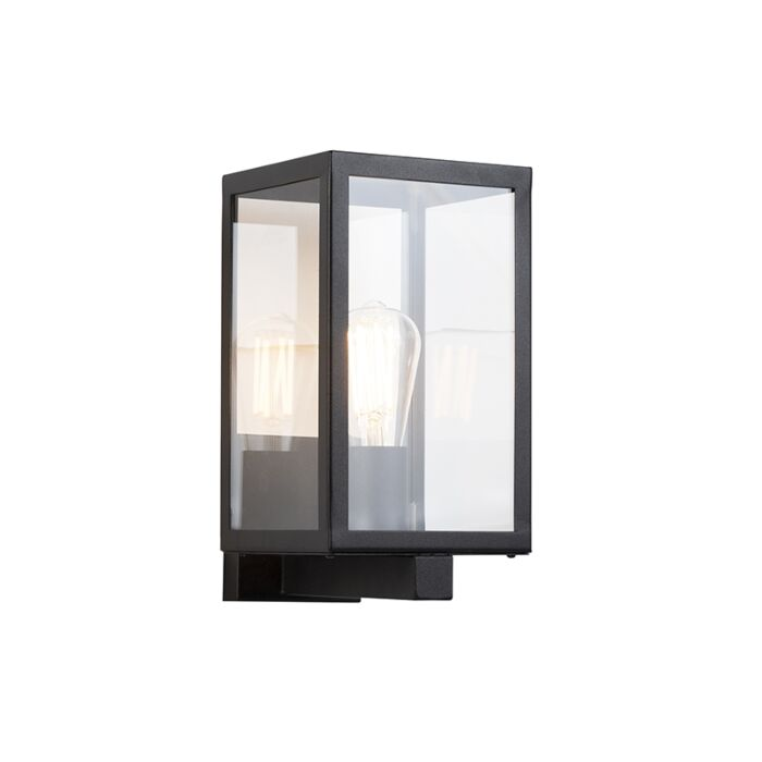 Moderne-rechthoekige-buitenwandlamp-zwart-met-glas---Rotterdam
