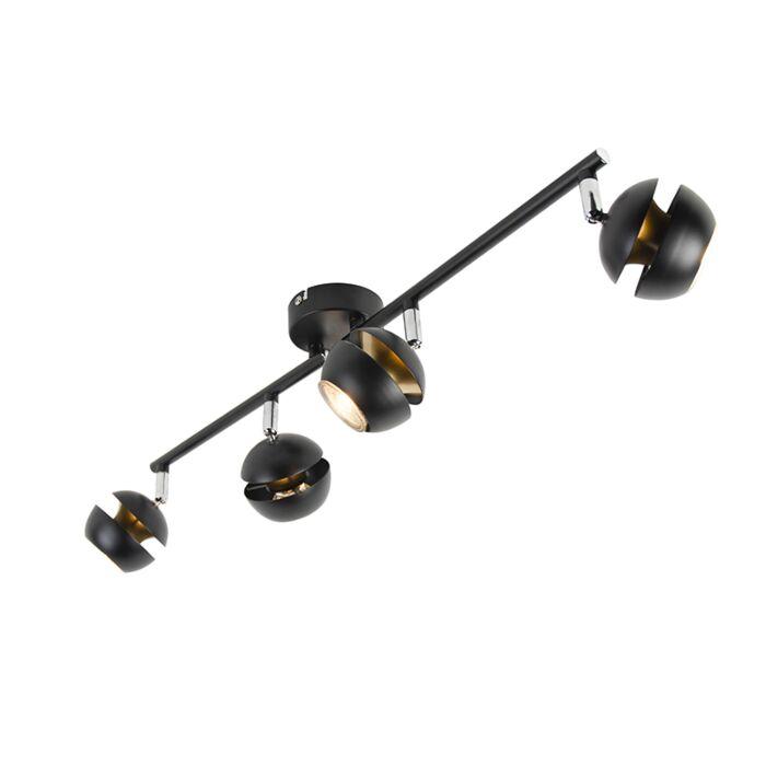 Moderne-spot-4-lichts-zwart-met-gouden-binnenkant---Buell-Deluxe